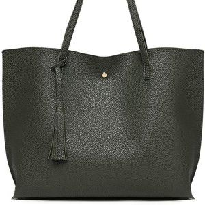 NEW JUAL Tote Soft Faux Leather, Army Green